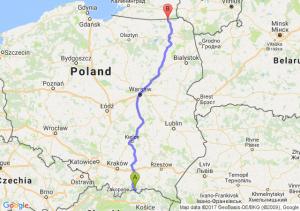 Piwniczna-Zdrój (małopolskie) - Gołdap (warmińsko-mazurskie)