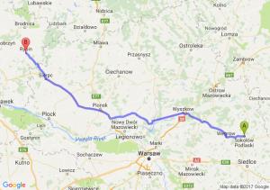 Sokołów Podlaski (mazowieckie) - Rypin (kujawsko-pomorskie)