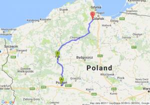 Poznań (wielkopolskie) - Piła (wielkopolskie) - Jodłowno (pomorskie)