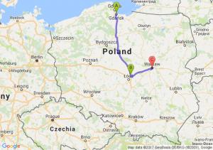 Gdańsk (pomorskie) - Stryków (łódzkie) - Warszawa (mazowieckie)