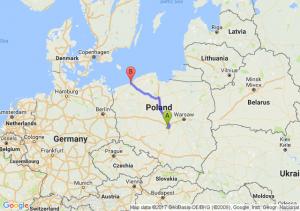 Łódź (łódzkie) - Mielno (zachodniopomorskie)