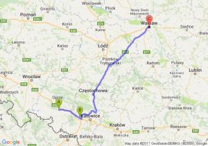 Krapkowice (opolskie) - Gliwice - Warszawa (mazowieckie)