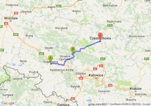 Krapkowice (opolskie) - Zawadzkie (opolskie) - Częstochowa (śląskie)