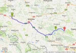 Legnica (dolnośląskie) - Bierdzany (opolskie) - Sieraków Śląski (śląskie)
