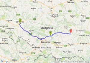 Wrocław (dolnośląskie) - Zawiercie (śląskie) - Szydłów (świętokrzyskie)