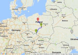 Biała (opolskie) - Łódź (łódzkie) - Płonkówko (kujawsko-pomorskie)
