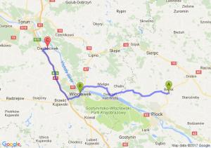 Bielsk (mazowieckie) - Włocławek (kujawsko-pomorskie) - Ciechocinek (kujawsko-pomorskie)