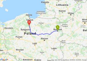 Trasa Białystok - Warlubie