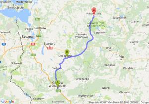 Gorzów Wielkopolski (lubuskie) - Choszczno (zachodniopomorskie) - Połczyn-zdrój (zachodniopomorskie)