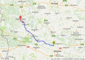 Oborniki Śląskie (dolnośląskie) - Zielona Góra (lubuskie)