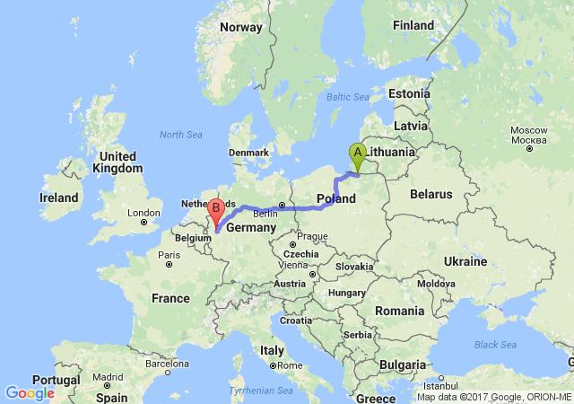 Wyznaczanie trasy - trasa od Bartoszyce do Kolonia Niemcy