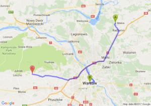 Radzymin (mazowieckie) - Warszawę - Zaborów (mazowieckie)
