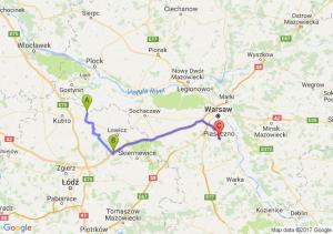 Żychlin (łódzkie) - Łyszkowice (łódzkie) - Piaseczno (mazowieckie)