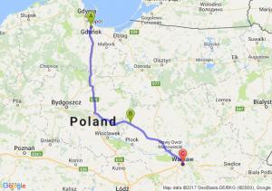 Gdańsk (pomorskie) - Sierpc (mazowieckie) - Warszawa (mazowieckie)