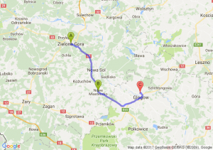 Zielona Gora - Nowe Miasteczko (lubuskie) - Grodziec Mały (dolnośląskie)