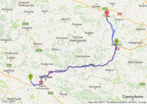 Świdnica Polska (dolnośląskie) - Sieradz (łódzkie) - Turek (wielkopolskie)