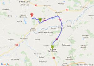 Dąbrowa Tarnowska (małopolskie) - Ostrowce (świętokrzyskie) - Piasek Wielki (świętokrzyskie)