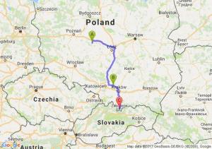 Rychwał (wielkopolskie) - Olkusz (małopolskie) - Zakopane (małopolskie)