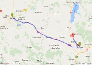 Kalisz (wielkopolskie) - Sieradz (łódzkie) - Biskupice (łódzkie)