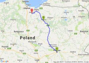 Warszawa (mazowieckie) - Ostróda (warmińsko-mazurskie) - Malbork (pomorskie)