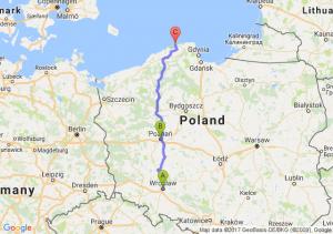 Wrocław (dolnośląskie) - Poznań (wielkopolskie) - Łeba (pomorskie)