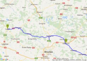 Lubin (dolnośląskie) - Oleśnicę - Mysłowice (śląskie)