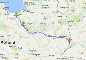 Elbląg - Ostróda - Narewka (podlaskie)