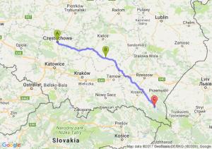 Czestochowa - Busko-zdrój (świętokrzyskie) - Bachlawa (podkarpackie)