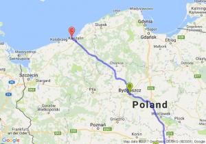 Poddębice (łódzkie) - Bydgoszcz (kujawsko-pomorskie) - Mielno (zachodniopomorskie)