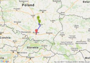 Opoczno (łódzkie) - Mniów (świętokrzyskie) - Kraków (małopolskie)