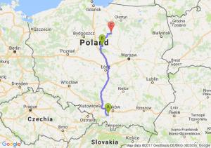 Barwałd Górny (małopolskie) - Nowa Wieś (koło Lipna) (kujawsko-pomorskie) - Lidzbark (warmińsko-mazurskie)