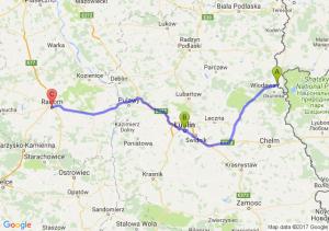 Włodawa (lubelskie) - Lublin (lubelskie) - Radom (mazowieckie)