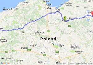 Szczecin (zachodniopomorskie) - Ostróda (warmińsko-mazurskie) - Wydminy (warmińsko-mazurskie)