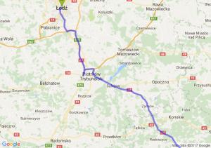 Lodz - Nowy Korczyn (świętokrzyskie) - Lipnica Murowana (małopolskie)