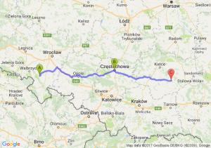 Bielawa (dolnośląskie) - Częstochowa - Szydłów (świętokrzyskie)