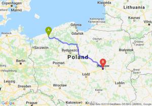 Trasa Białogard - Warszawa