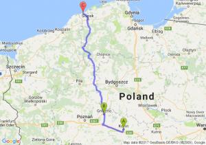 Konin (wielkopolskie) - Gniezno (wielkopolskie) - Ustka (pomorskie)