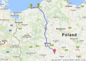 Kołobrzeg (zachodniopomorskie) - Koszalin (zachodniopomorskie) - Jarocin (wielkopolskie)