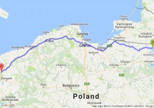 Węgorzewo (warmińsko-mazurskie) - Goleniów (zachodniopomorskie)