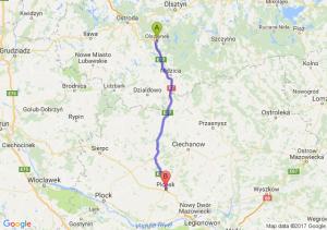 Trasa Olsztynek - Płońsk