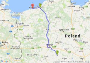 Jarocin (wielkopolskie) - Koszalin (zachodniopomorskie) - Kołobrzeg (zachodniopomorskie)
