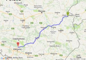 Trasa Biała Podlaska - Pyrzowice