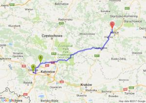 Gliwice (śląskie) - Tarnowskie Góry (śląskie) - Miedziana Góra (świętokrzyskie)