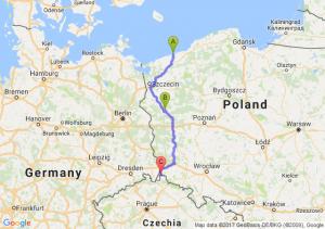 Kołobrzeg (zachodniopomorskie) - Gorzów Wielkopolski (lubuskie) - Zawidów (dolnośląskie)