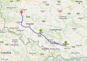 Kraków (małopolskie) - Opole (opolskie) - Bełcz Wielki (dolnośląskie)