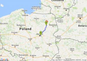 Warszawa Wawer  - Łomża (podlaskie) - Kisielnica (podlaskie)