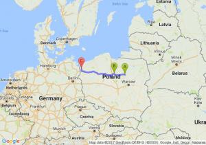 Nosarzewo Borowe (mazowieckie) - Golub-dobrzyń (kujawsko-pomorskie) - Police (zachodniopomorskie)