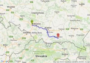Trasa Gliwice - Nowy Sącz