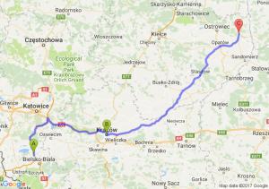 Czechowice-dziedzice (śląskie) - Kraków (małopolskie) - Karsy (świętokrzyskie)