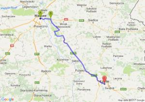 Warszawa (mazowieckie) - Zakręt (mazowieckie) - Lublin (lubelskie)
